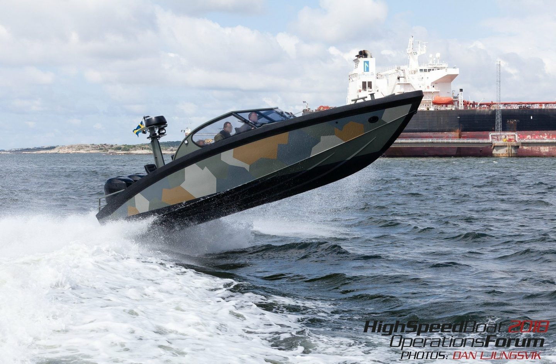 Boat flying off wave